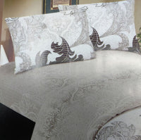 DaDa Bedding Soft Paisley Floral Leaves Fitted & Flat Sheets Set w/ Pillow Cases