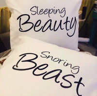 Sleeping Beauty Snoring Beast, funny pillow cases/cushion covers