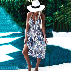 Bohemia Elastic Lacing Printing Halter Beach Vacation Dress