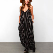 Bohemia Polka Dot Strap Beach Vacation Dress With Pockets