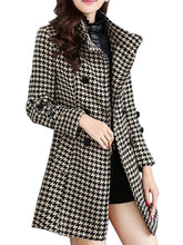 Breasted Houndstooth With Pockets Overcoats