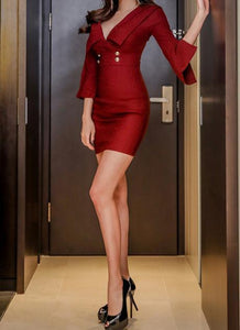 Casual Sexy V Collar   Shown Thin Mini Bodycon Dress