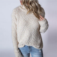 High Neck  Bow  Plain Knit Pullover