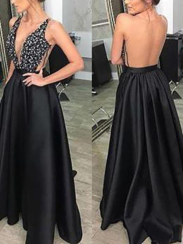 Sexy V-Neck Sleeveless Sequin Dress Backless Evening Dress