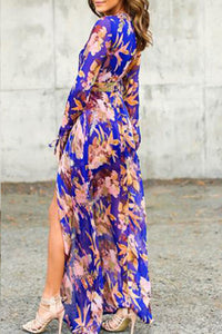 Deep V Neck  Asymmetric Hem  Printed  Long Sleeve Maxi Dresses