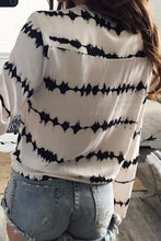 V Neck  Lace Up  Printed Shirts