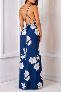 Spaghetti Strap  Backless High Slit  Floral Printed Maxi Dresses