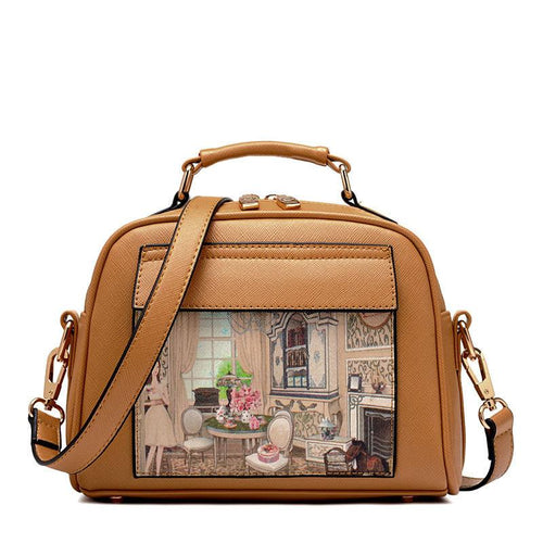 PU Leather Oil Picture Pattern Women Bag