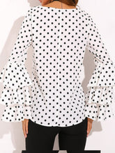 Round Neck  Geometric Plain Polka Dot Printed  Bell Sleeve Blouses