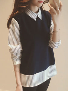 Autumn Spring  Turn Down Collar  Patchwork  Fake Two-Piece  Striped Sweaters Blouses