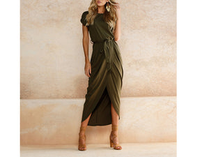 Random Elegant Short Sleeves Splited Hem Maxi Dresses