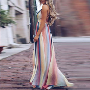 Color Deep V High Waist Maxi Dress