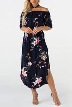 Sexy Off Shoulder Floral Print Vacation Maxi Dress