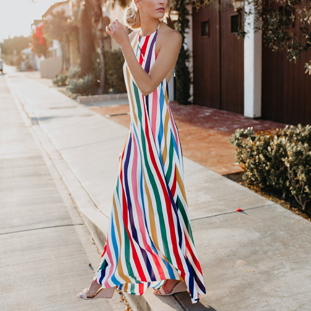 Sexy Fashion Stripe Vacation Maxi Dress