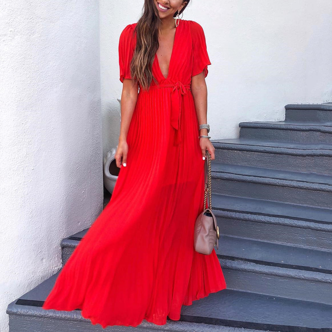 Fashion Random Red Short Sleeves Maxi Dress