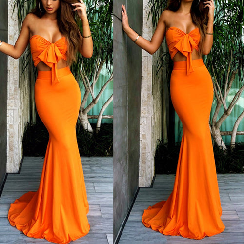 Sexy Orange Sleeveless Bodycon Maxi Dress Fishtail Dress