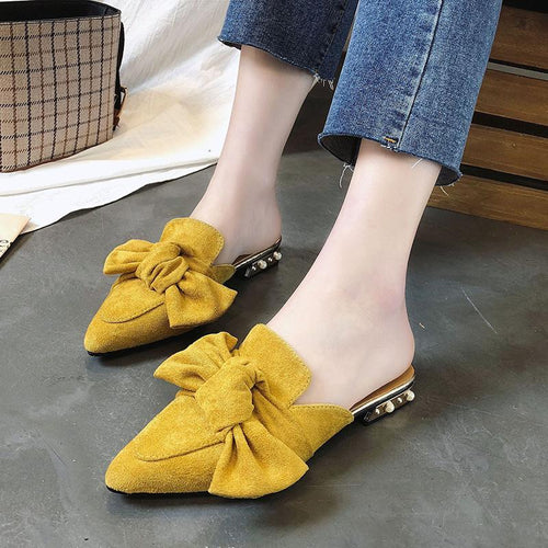 Lazy Flat Tip Bow Thick Heel Shoes