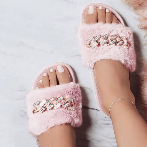 Comfortable Diamante Chain Design Faux Fur Flat Sandals