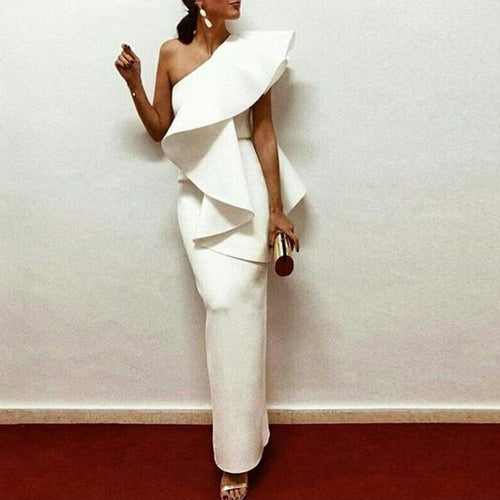 White Chic One-Shouldered Party Maxi Dress