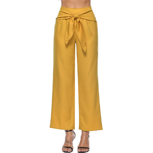 Solid Color Tie Casual Wide Leg Pants
