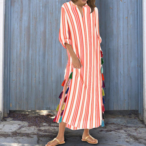 Cotton/Polyester Printed Stripe Tassel Casual V-Neck Vintage Dress