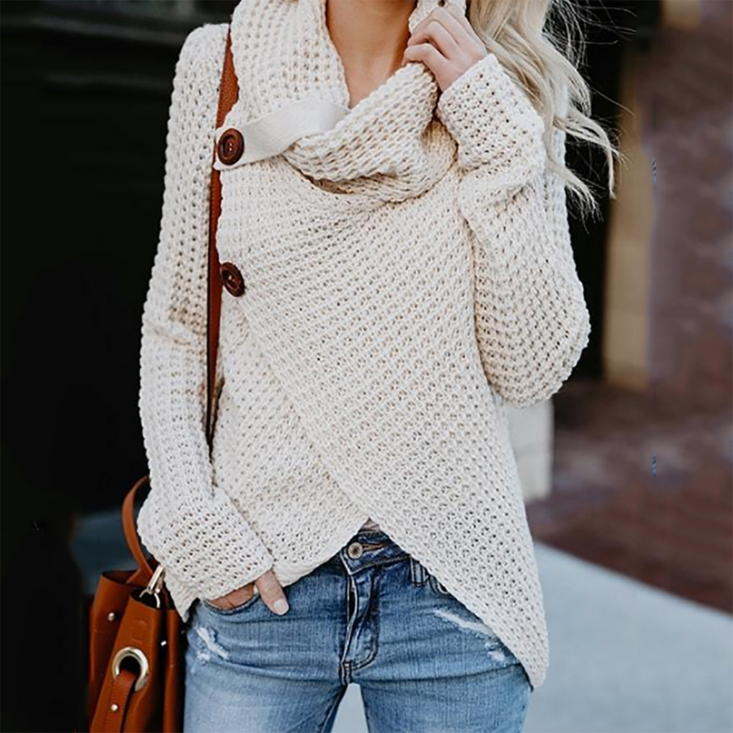 Asymmetric Neck  Asymmetric Hem  Plain Sweaters Pullover