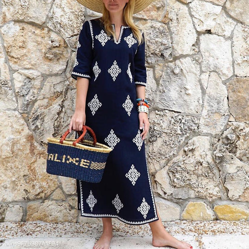 Fashion Half Sleeves Embroidered Maxi Vacation Dress