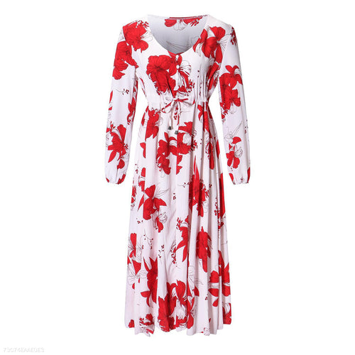 Fashion V Neck Bow Tie Long Sleeve Print Floral Dress