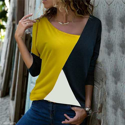 Fashion Round Neck Mixed Colors Shirt