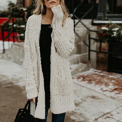Fashion Pure Pocket Long Sleeve Cardigans