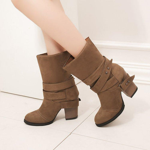 Stylish Large Size Chunky Heel Belt Buckle Boots