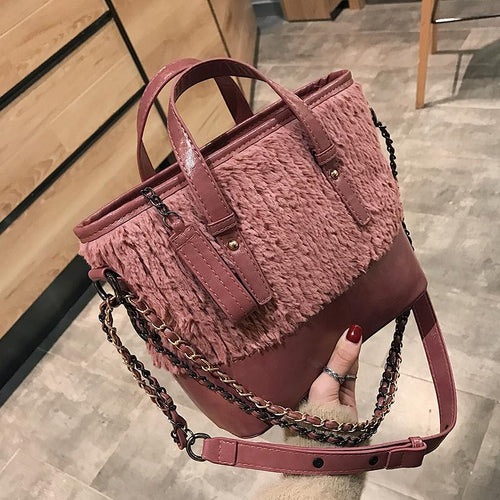 Stylish Casual Leather Woolen Plain One Shoulder Hand Bag
