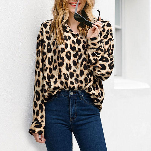 Fashion Lapel Long Sleeve Leopard Printed Blouses