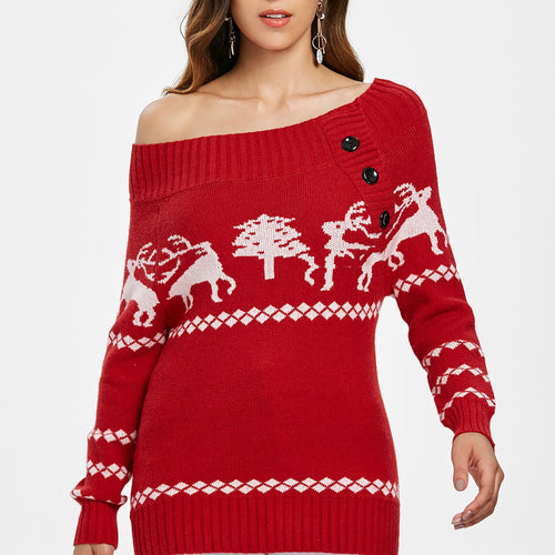Sexy Women's Off The Shoulder Christmas Sweater