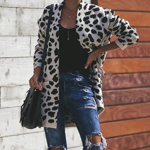 Dot Print Pocket Loose Knitting Long Sweater Cardigans