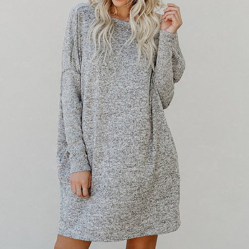 Large Size Round Neck Pocket Loose Casual Dress