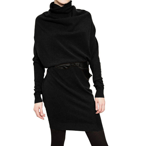 Wool High Collar Long Sleeve Loose Large Size Sweater Dress