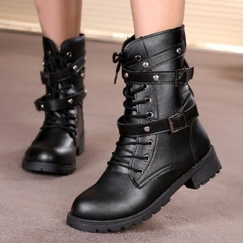 Plain  Flat  Round Toe  Outdoor  Mid Calf Flat Boots