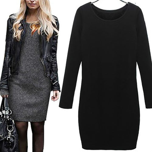 Fashion Large Size Thicken Plus Velvet  Long Sleeve Dress