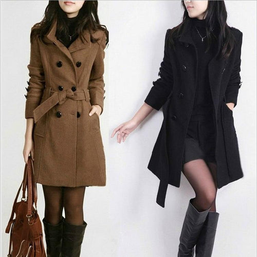 Long Double Breasted Outwear Woolen Coat