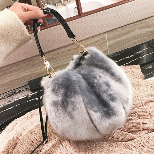 Plush Small Bucket Bag With Crossbody Bag