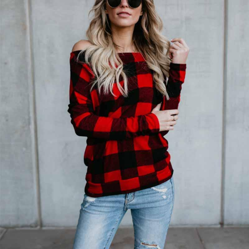Sexy Off Shoulder With Red Grid Long Sleeve Blouse