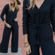 Fashion Long Sleeve Stripe V Neck Jumpsuit