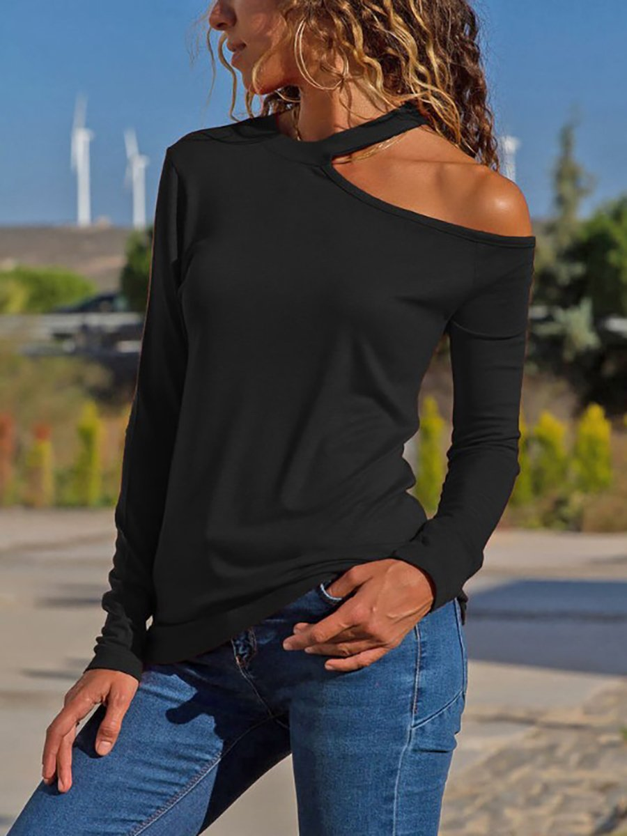 One Shoulder  Backless Cutout  Plain Long Sleeve T-Shirts