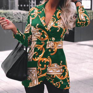 Fashion Printed Lapel Long Sleeve Slim Jacket