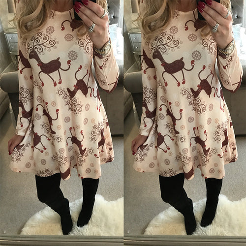 Christmas Casual Women's Print Dress