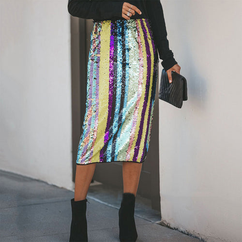 Sexy Colorblock Sequined Skirt