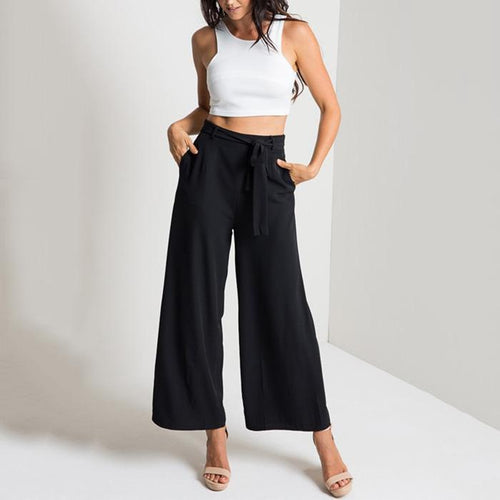 Casual Pure Color Baggy Wide Leg Nine Point Loose Pants