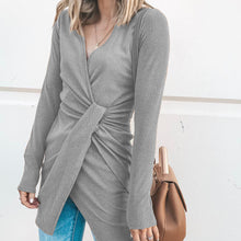 New V-Neck Irregular Long-Sleeved Dress