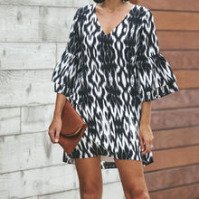 Fashion Loose Leopard Long Sleeve V-Neck Dress